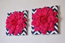 "Load image into Gallery viewer, Two Wall Flowers -Hot Pink Dahlia on Navy and White Chevron 12 x12"" Canvas Wall Art- 3D Felt Flower - Daisy Manor"