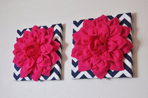 "Two Wall Flowers -Hot Pink Dahlia on Navy and White Chevron 12 x12"" Canvas Wall Art- 3D Felt Flower - Daisy Manor"