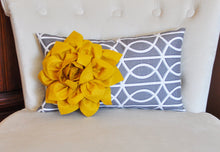 Load image into Gallery viewer, Decorative Throw Pillows - Mustard Dahlia on Charcoal Gray Porta Bella Print Lumbar Pillow -Lattice Decorative Pillow- - Daisy Manor