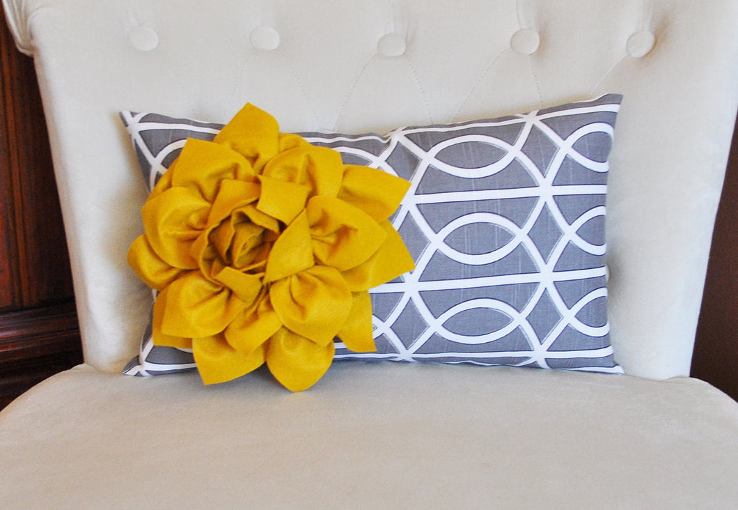 Decorative Throw Pillows - Mustard Dahlia on Charcoal Gray Porta Bella Print Lumbar Pillow -Lattice Decorative Pillow- - Daisy Manor