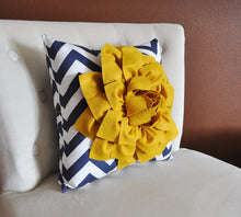 Load image into Gallery viewer, Gold and Navy Pillow. Flower. Chevron. Home Decor. - Daisy Manor