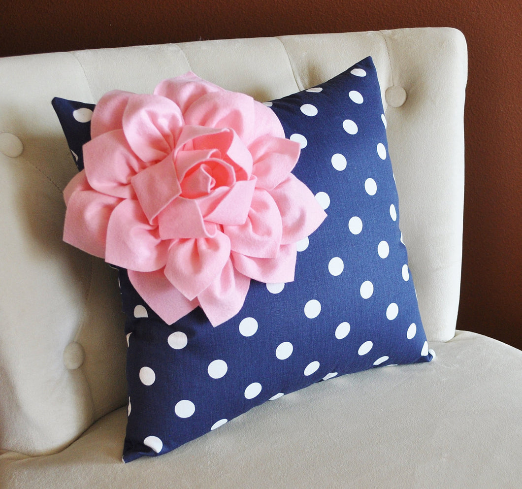 Navy Dot Corner Pillow - Daisy Manor