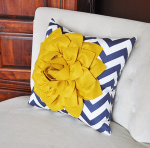 Gold and Navy Pillow. Flower. Chevron. Home Decor. - Daisy Manor