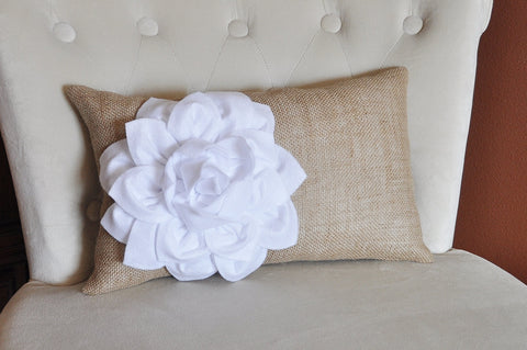 Decorative Lumbar Pillow White Dahlia on Burlap Lumbar Pillow 9 x 16 Burlap Home Decor