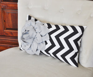 Decorative Lumbar Pillow Gray Dahlia on Black  and White Zig Zag Chevron Lumbar Pillow 9 x 16 - Daisy Manor