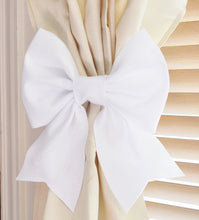 Load image into Gallery viewer, White Bow Curtain Tie Backs Set of Two - Daisy Manor