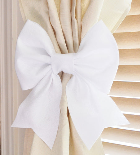 White Bow Curtain Tie Backs Set of Two - Daisy Manor