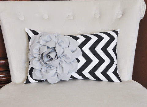 Decorative Lumbar Pillow Gray Dahlia on Black  and White Zig Zag Chevron Lumbar Pillow 9 x 16