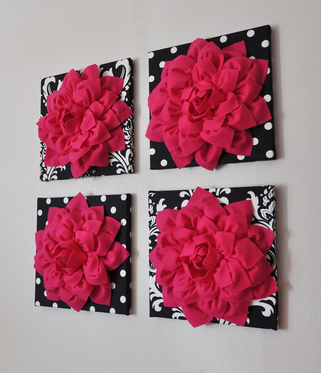 Hot Pink Dahlia Decor On Black And White Print Canvases 3d Flower Wall Daisy Manor
