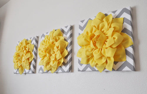 Three Bright Yellow Dahlia on Gray and White Chevron Canvases - Daisy Manor