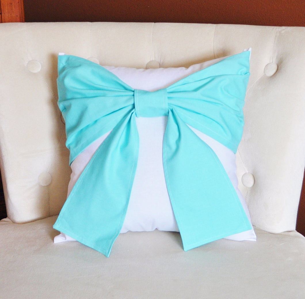 Aqua Bow Tie Pillow - Daisy Manor