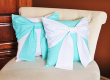 Load image into Gallery viewer, Aqua Bow Tie Pillow - Daisy Manor
