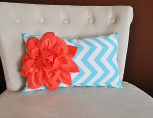 Decorative Nursery Pillow Coral Flower on Aqua Chevron Lumbar Pillow - Daisy Manor