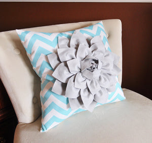Decorative Pillow Gray Dahlia on Aqua and White Zigzag Pillow -Chevron Pillow- - Daisy Manor