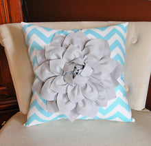 Load image into Gallery viewer, Decorative Pillow Gray Dahlia on Aqua and White Zigzag Pillow -Chevron Pillow- - Daisy Manor