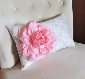 Light Pink Dahlia on Pink Taupe Damask Pillow Lumbar Pillow 9 x 16 Baby Nursery Decor - Daisy Manor