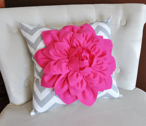 Pillows Hot Pink Dahlia on Gray and White Zigzag Pillow -Decorative Throw Pillow- - Daisy Manor