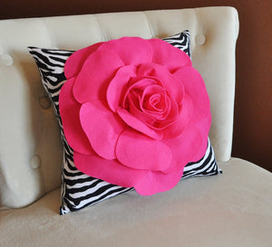 Hot Pink Rose on Zebra Pillow 14x14 - Daisy Manor