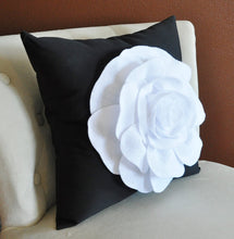 Load image into Gallery viewer, White Rose on Black Pillow - Daisy Manor