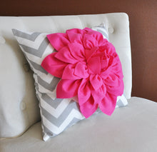Load image into Gallery viewer, Pillows Hot Pink Dahlia on Gray and White Zigzag Pillow -Decorative Throw Pillow- - Daisy Manor