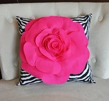 Load image into Gallery viewer, Hot Pink Rose on Zebra Pillow 14x14 - Daisy Manor