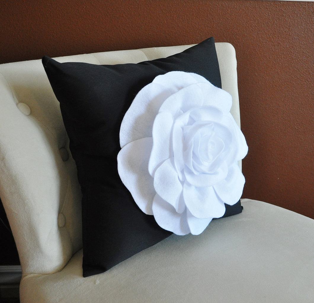 White Rose on Black Pillow - Daisy Manor
