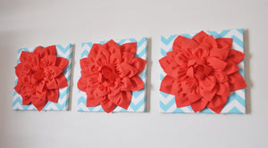 Three Coral Dahlia on Aqua Chevron Canvases - Daisy Manor