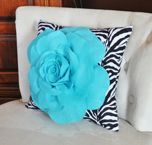 Load image into Gallery viewer, Light Turquoise Rose on Zebra Pillow 14x14 - Daisy Manor