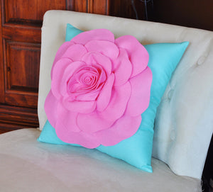 Throw Pillow Pink Rose on Bright Aqua Pillow 16 x 16 - Daisy Manor