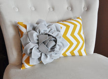 Load image into Gallery viewer, Decorative Lumbar Pillow Mustard Dahlia on Storm Gray and White Chevron Lumbar Pillow - Daisy Manor