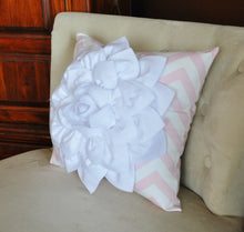 Load image into Gallery viewer, White Flower Pillow Light Pink Chevron Pillow BedRoom Decor Decorative pillow Nursery Decor - Daisy Manor