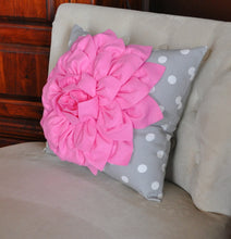Load image into Gallery viewer, Pink Dahlia on Gray and White Polka Dot Pillow -Baby Nursery Pillow- Toss Pillow Decorative Pillow - Daisy Manor