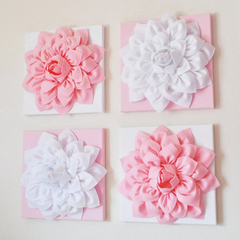 "Four Light Pink and White Flower Wall Hangings 12 x12"" Canvases"