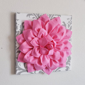 "Two Wall Flower Hangings -Pink Dahlia on White and Gray Damask 12 x12"" Canvas Wall Art- Baby Nursery Wall Decor- - Daisy Manor"