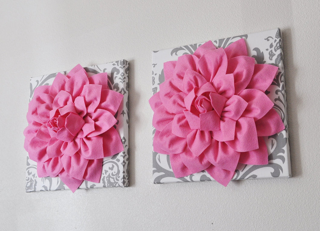Two Wall Flower Hangings -Pink Dahlia on White and Gray Damask 12 x12