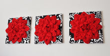 Load image into Gallery viewer, Three Red Dahlia Flowers on Black and White Damask Print Canvases - Daisy Manor
