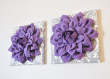 "Load image into Gallery viewer, Two Flower Wall Hangings -Lavender Purple Dahlias on Gray and White Damask 12 x12"" Canvas Wall Art- Baby Nursery Wall Decor - Daisy Manor"