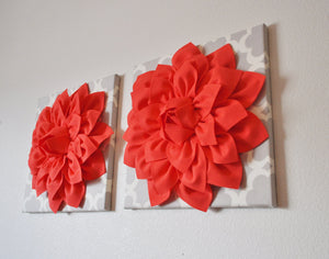 Two Large Coral Flower on Neutral Gray Tarika Wall Hanging -Flower Wall Decor- - Daisy Manor