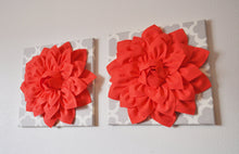 Load image into Gallery viewer, Two Large Coral Flower on Neutral Gray Tarika Wall Hanging -Flower Wall Decor- - Daisy Manor