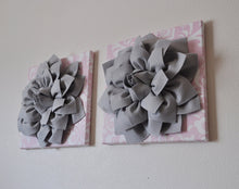 Load image into Gallery viewer, Three Gray Dahlias on Light Pink Damask Canvases - Daisy Manor