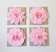 Load image into Gallery viewer, Two Light Pink Dahlias Burlap Canvases - Daisy Manor
