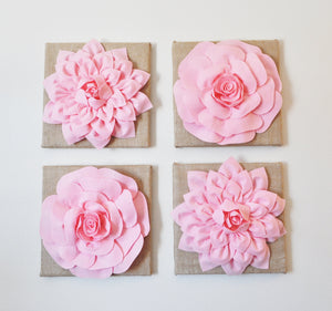Two Light Pink Dahlias Burlap Canvases - Daisy Manor