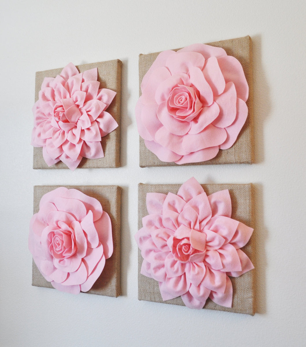 Pink Nursery Floral Canvas on Burlap Set of Four Baby Girl Nursery Decor - Daisy Manor