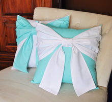 Load image into Gallery viewer, Throw Pillow Set White Bow on Bright Aqua Pillow and Bright Aqua Bow on White Pillow 14x14 -Aqua Blue Pillow- - Daisy Manor