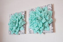 Load image into Gallery viewer, TWO Mint Green Dahlia on Gray and White Damask Canvases Wall Art - Daisy Manor