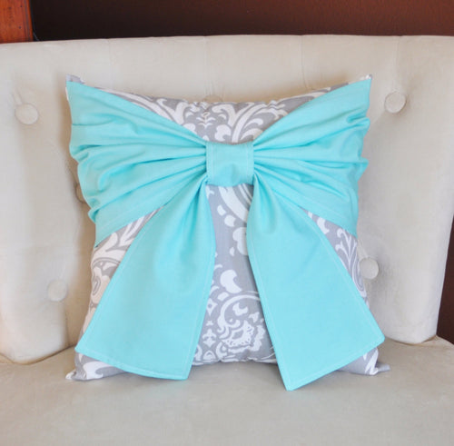 Aqua and Gray Throw Pillows Bow Tie Pillow - Daisy Manor