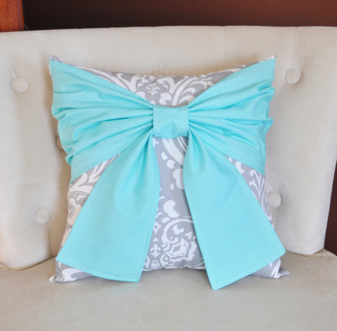 Grey Damask Bow Pillow