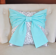 Load image into Gallery viewer, Aqua and Gray Throw Pillows Bow Tie Pillow - Daisy Manor