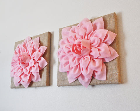 Two Light Pink Dahlias Burlap Canvases
