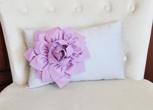 Light Gray Lumbar Pillow Lilac Dahlia on Gray Lumbar Pillow 9 x 16 Nursery Pillow - Daisy Manor